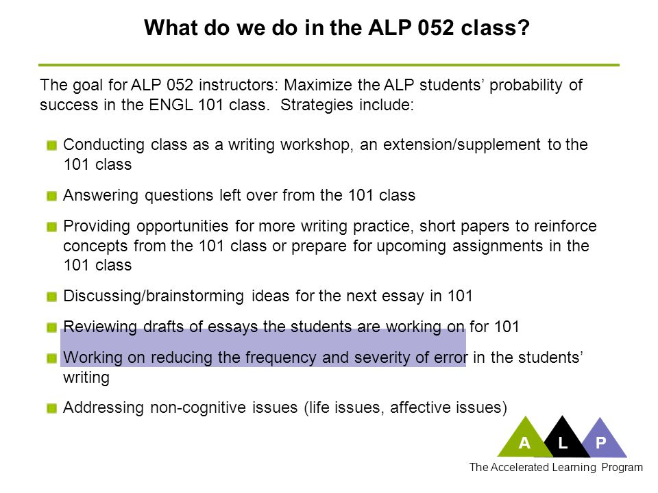 What do we do in the ALP 052 class? Conducting class as a writing workshop, an extension/supplement to the 101 class Answering questions left over fro