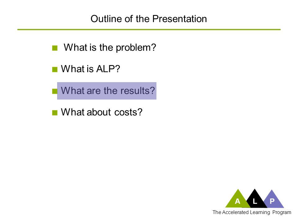 What is the problem? What is ALP? What are the results? What about costs? Outline of the Presentation ALP The Accelerated Learning Program