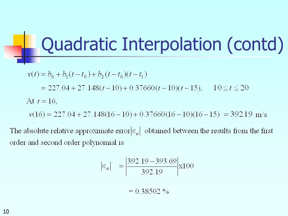10 Quadratic Interpolation (contd)