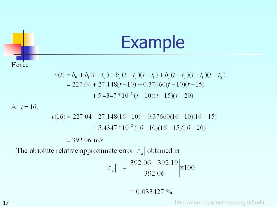 http://numericalmethods.eng.usf.edu17 Example