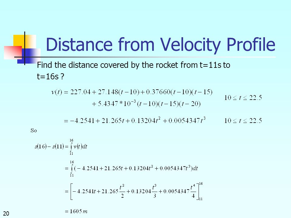 20 Distance from Velocity Profile Find the distance covered by the rocket from t=11s to t=16s ?