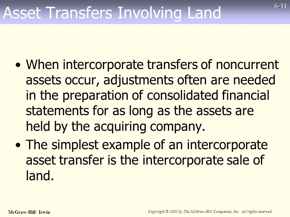 McGraw-Hill/ Irwin Copyright © 2002 by The McGraw-Hill Companies, Inc. All rights reserved. 6-11 Asset Transfers Involving Land When intercorporate tr