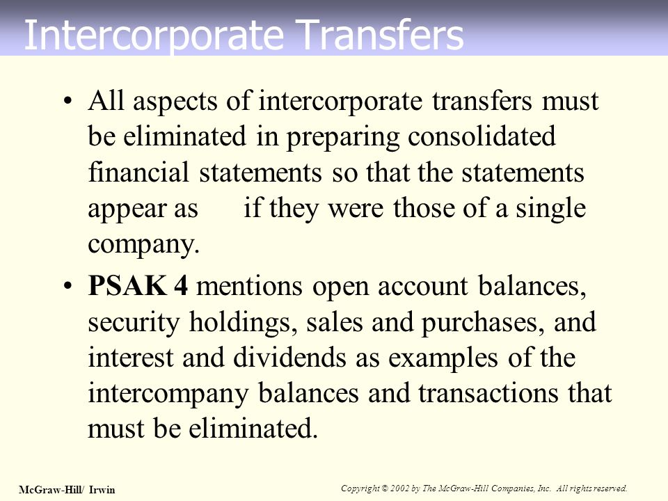 McGraw-Hill/ Irwin Copyright © 2002 by The McGraw-Hill Companies, Inc. All rights reserved. All aspects of intercorporate transfers must be eliminated
