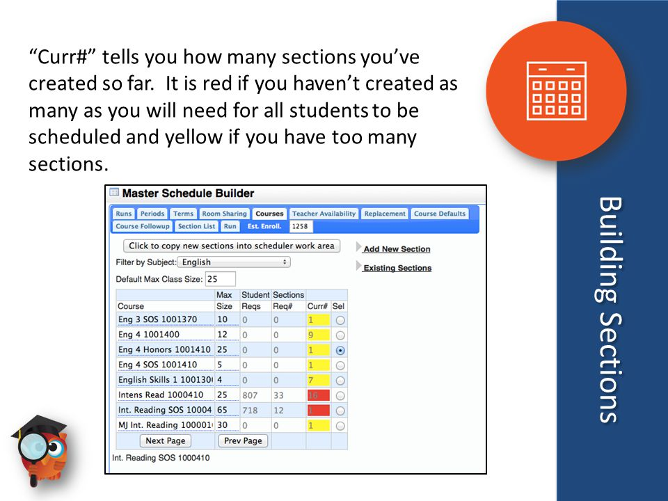 Building Sections Curr# tells you how many sections you've created so far.
