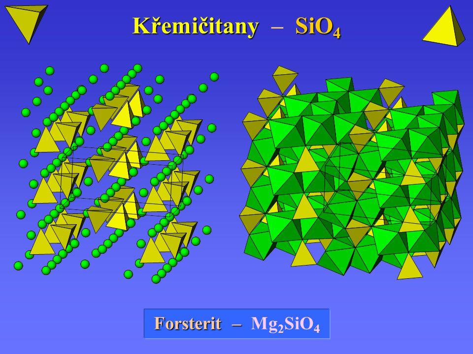 Křemičitany SiO 4 Křemičitany – SiO 4 Forsterit Forsterit – – Mg 2 SiO 4