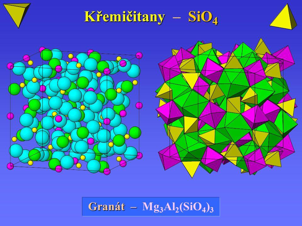 Křemičitany SiO 4 Křemičitany – SiO 4 Granát – Mg 3 Al 2 (SiO 4 ) 3