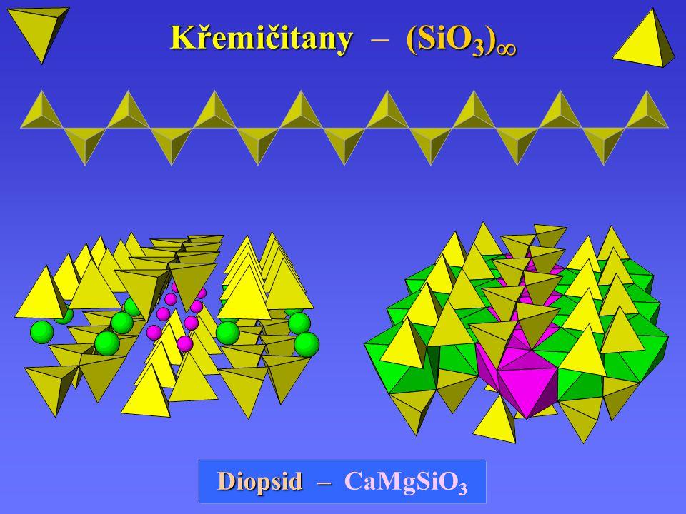 Křemičitany (SiO 3 )  Křemičitany – (SiO 3 )  Diopsid Diopsid – – CaMgSiO 3