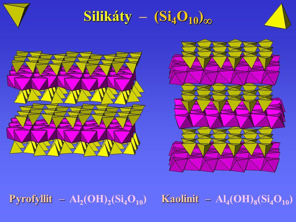 Silikáty (Si 4 O 10 )  Silikáty – (Si 4 O 10 )  Pyrofyllit – Pyrofyllit – Al 2 (OH) 2 (Si 4 O 10 ) Kaolinit – Kaolinit – Al 4 (OH) 8 (Si 4 O 10 )