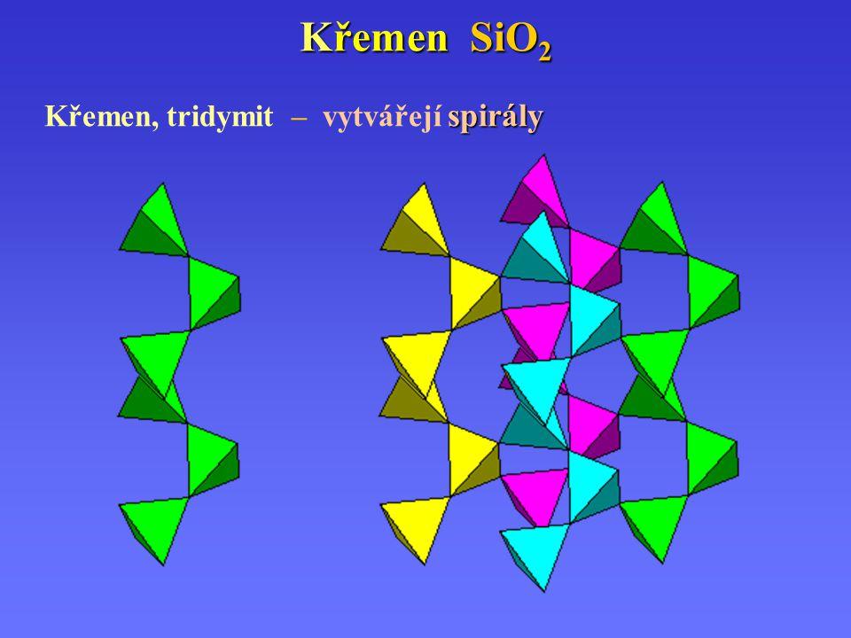 Křemen SiO 2 spirály Křemen, tridymit – vytvářejí spirály