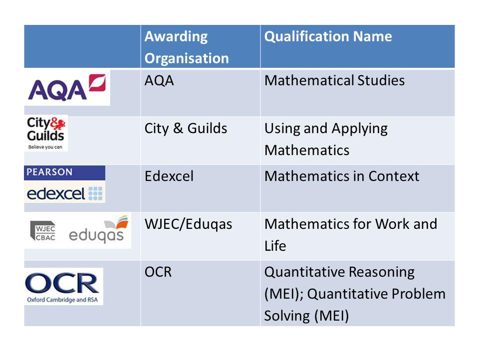 Awarding Organisation Qualification Name AQAMathematical Studies City & Guilds Using and Applying Mathematics EdexcelMathematics in Context WJEC/Eduqas Mathematics for Work and Life OCRQuantitative Reasoning (MEI); Quantitative Problem Solving (MEI)