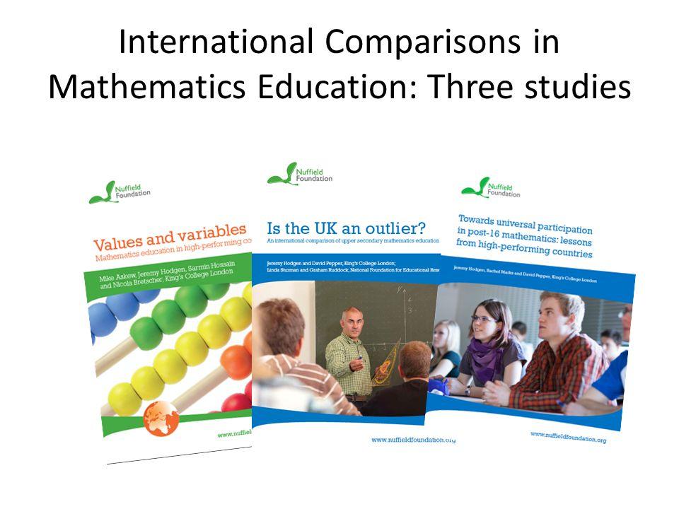 International Comparisons in Mathematics Education: Three studies