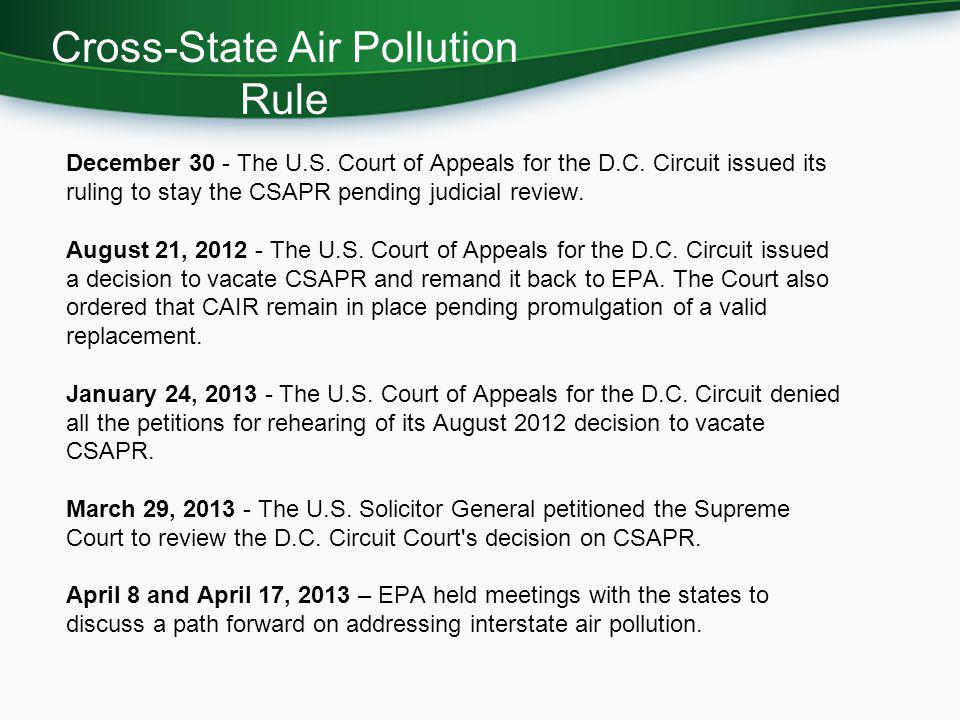December 30 - The U.S.Court of Appeals for the D.C.