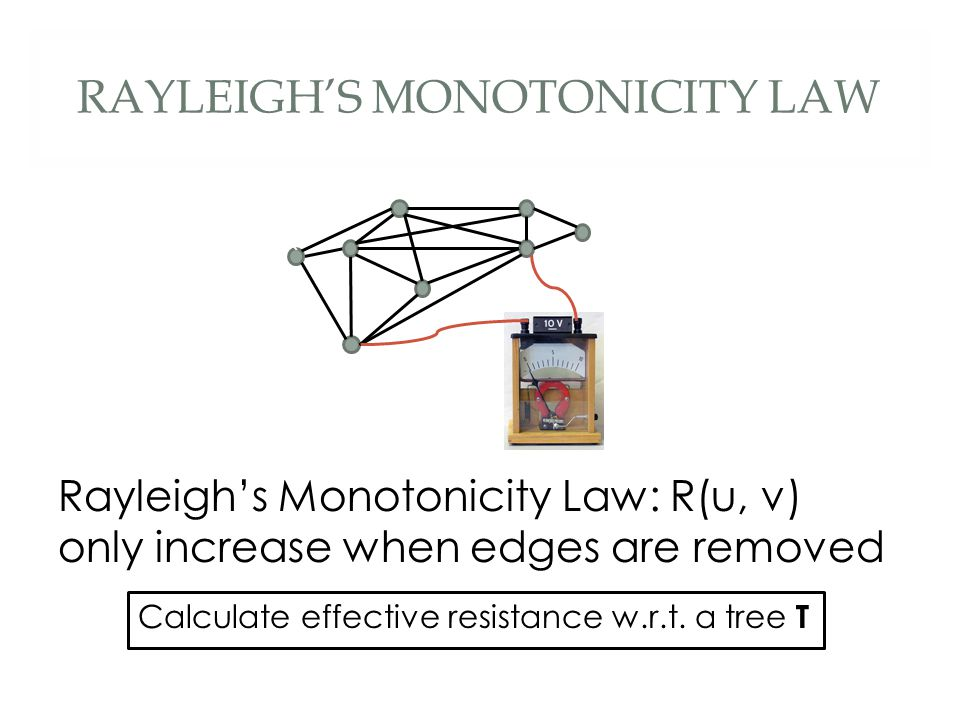 RAYLEIGH'S MONOTONICITY LAW Rayleigh's Monotonicity Law: R(u, v) only increase when edges are removed ` Calculate effective resistance w.r.t.