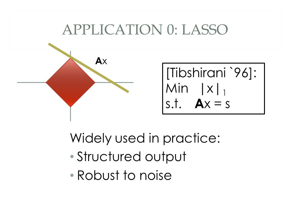 APPLICATION 0: LASSO Widely used in practice: Structured output Robust to noise [Tibshirani `96]: Min |x| 1 s.t.