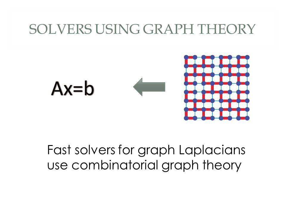 SOLVERS USING GRAPH THEORY Fast solvers for graph Laplacians use combinatorial graph theory