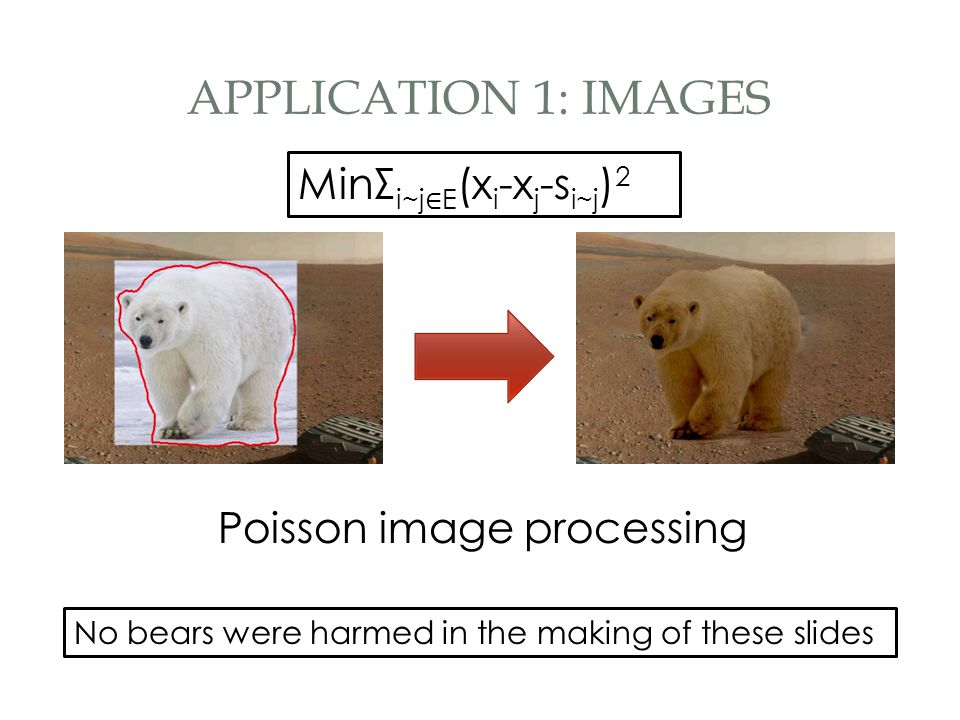 APPLICATION 1: IMAGES No bears were harmed in the making of these slides Poisson image processing MinΣ i~j ∈ E (x i -x j -s i~j ) 2