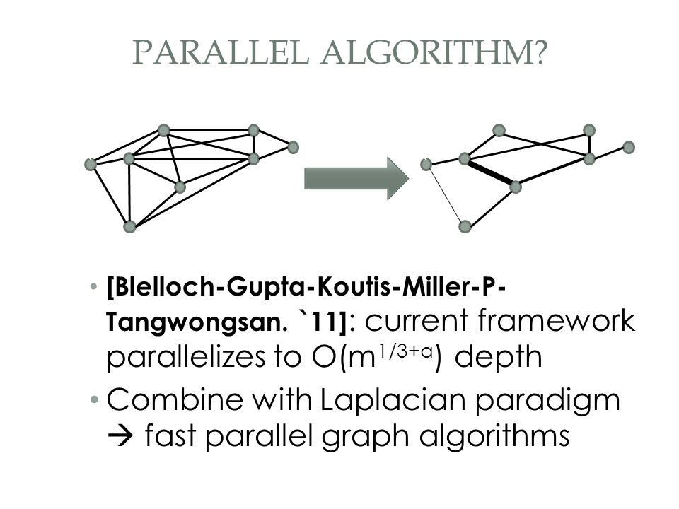 [Blelloch-Gupta-Koutis-Miller-P- Tangwongsan. `11] : current framework parallelizes to O(m 1/3+a ) depth Combine with Laplacian paradigm  fast parall