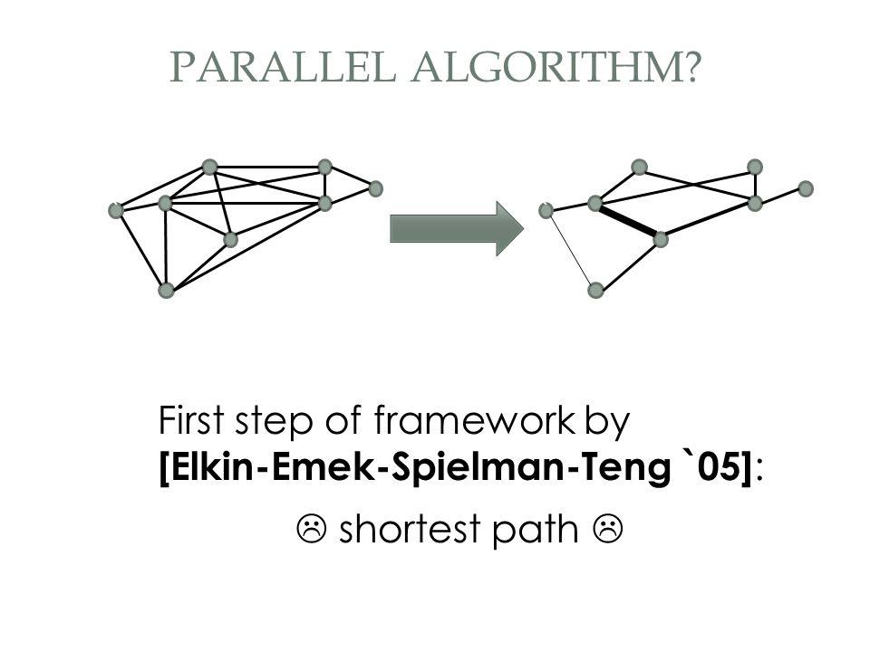 First step of framework by [Elkin-Emek-Spielman-Teng `05] : `` PARALLEL ALGORITHM.