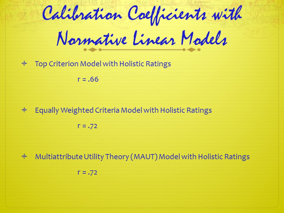Calibration Coefficients with Normative Linear Models  Top Criterion Model with Holistic Ratings r =.66  Equally Weighted Criteria Model with Holistic Ratings r =.72  Multiattribute Utility Theory (MAUT) Model with Holistic Ratings r =.72