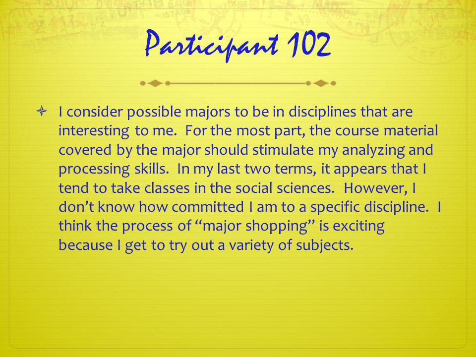 Participant 102  I consider possible majors to be in disciplines that are interesting to me.