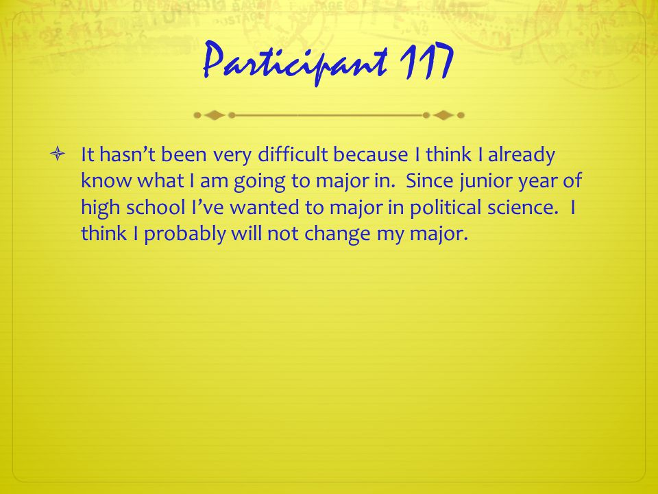 Participant 117  It hasn't been very difficult because I think I already know what I am going to major in.