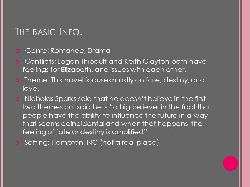 T HE BASIC I NFO. Genre: Romance, Drama Conflicts: Logan Thibault and Keith Clayton both have feelings for Elizabeth, and issues with each other. Them