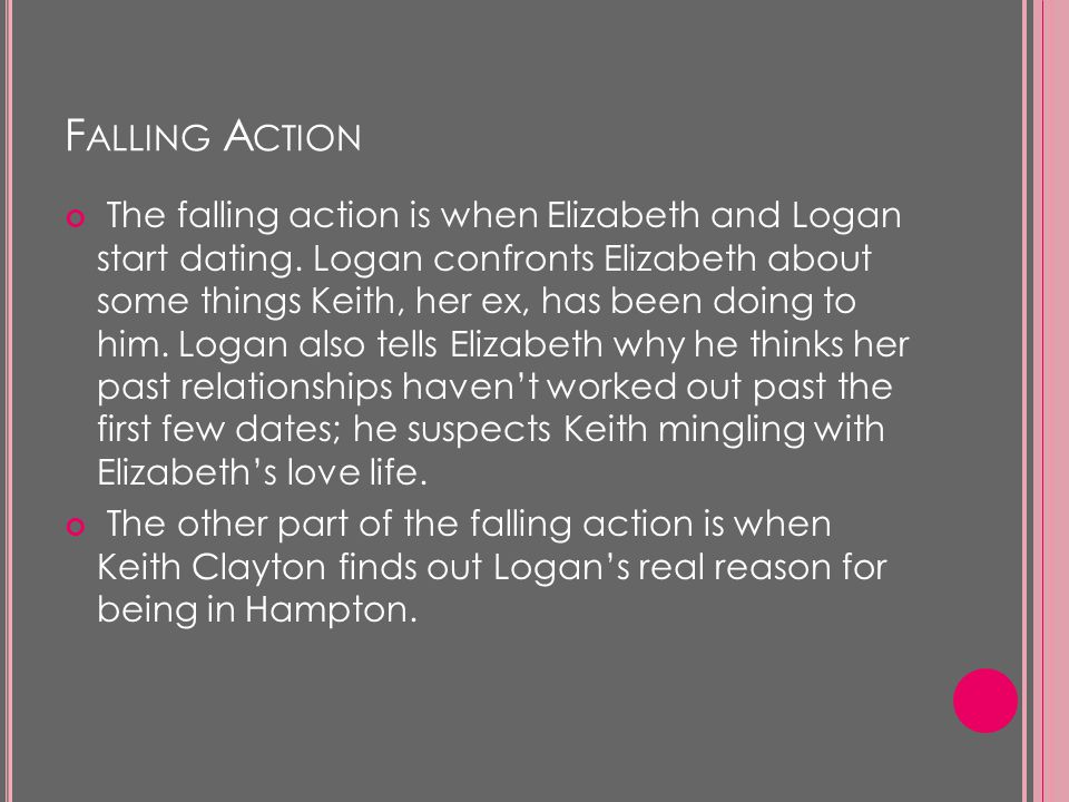 F ALLING A CTION The falling action is when Elizabeth and Logan start dating.