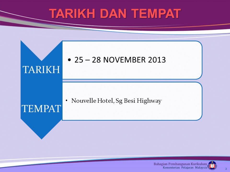 2 TARIKH DAN TEMPAT. TARIKH 25 – 28 NOVEMBER 2013 TEMPAT Nouvelle Hotel, Sg Besi Highway