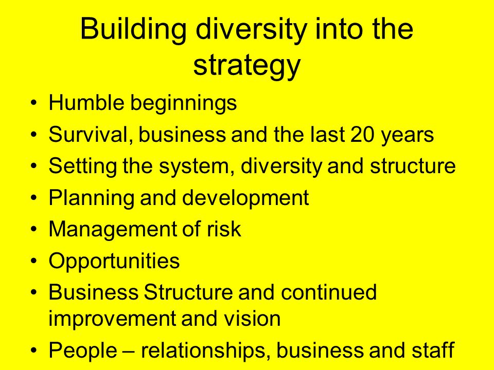 Building diversity into the strategy Humble beginnings Survival, business and the last 20 years Setting the system, diversity and structure Planning and development Management of risk Opportunities Business Structure and continued improvement and vision People – relationships, business and staff