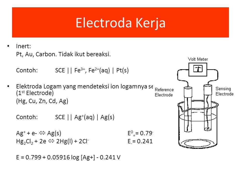 Elektroda Pembanding Reaksi/Potensial setengah selnya diketahui Tidak bereaksi/dipengaruhi oleh analit yang diukur – Reversible dan mengikuti persamaa
