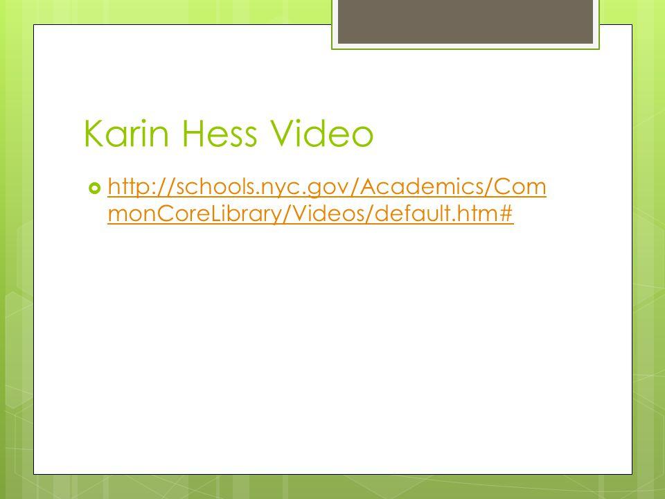 Karin Hess Video  http://schools.nyc.gov/Academics/Com monCoreLibrary/Videos/default.htm# http://schools.nyc.gov/Academics/Com monCoreLibrary/Videos/