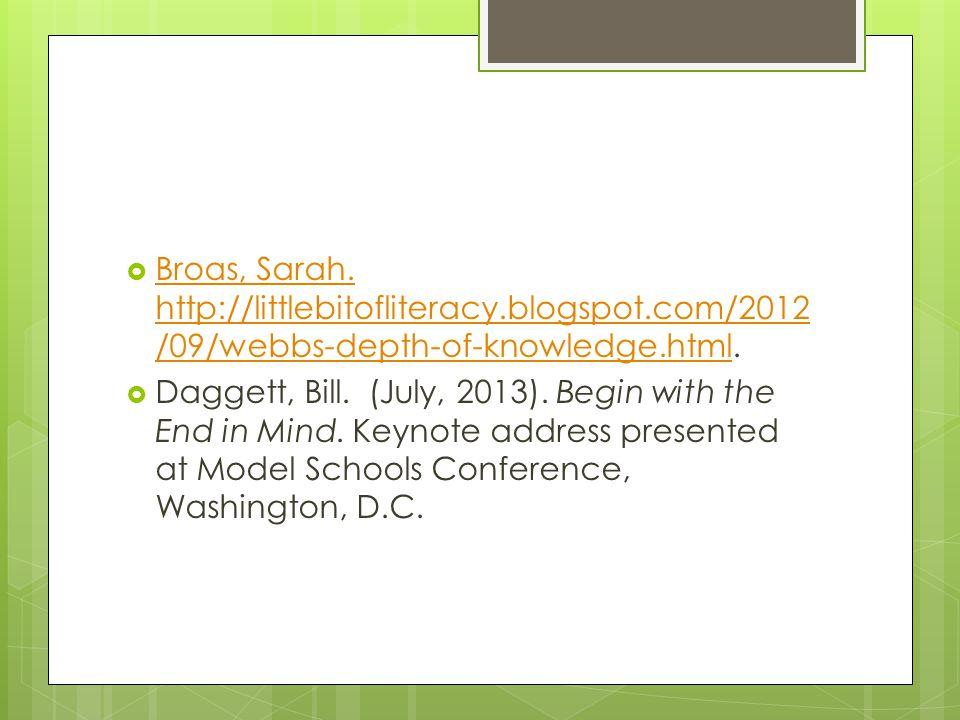 Broas, Sarah. http://littlebitofliteracy.blogspot.com/2012 /09/webbs-depth-of-knowledge.html. Broas, Sarah. http://littlebitofliteracy.blogspot.com/