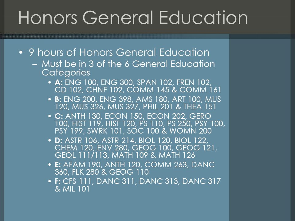 Honors General Education 9 hours of Honors General Education –Must be in 3 of the 6 General Education Categories A: ENG 100, ENG 300, SPAN 102, FREN 102, CD 102, CHNF 102, COMM 145 & COMM 161 B: ENG 200, ENG 398, AMS 180, ART 100, MUS 120, MUS 326, MUS 327, PHIL 201 & THEA 151 C: ANTH 130, ECON 150, ECON 202, GERO 100, HIST 119, HIST 120, PS 110, PS 250, PSY 100, PSY 199, SWRK 101, SOC 100 & WOMN 200 D: ASTR 106, ASTR 214, BIOL 120, BIOL 122, CHEM 120, ENV 280, GEOG 100, GEOG 121, GEOL 111/113, MATH 109 & MATH 126 E: AFAM 190, ANTH 120, COMM 263, DANC 360, FLK 280 & GEOG 110 F: CFS 111, DANC 311, DANC 313, DANC 317 & MIL 101