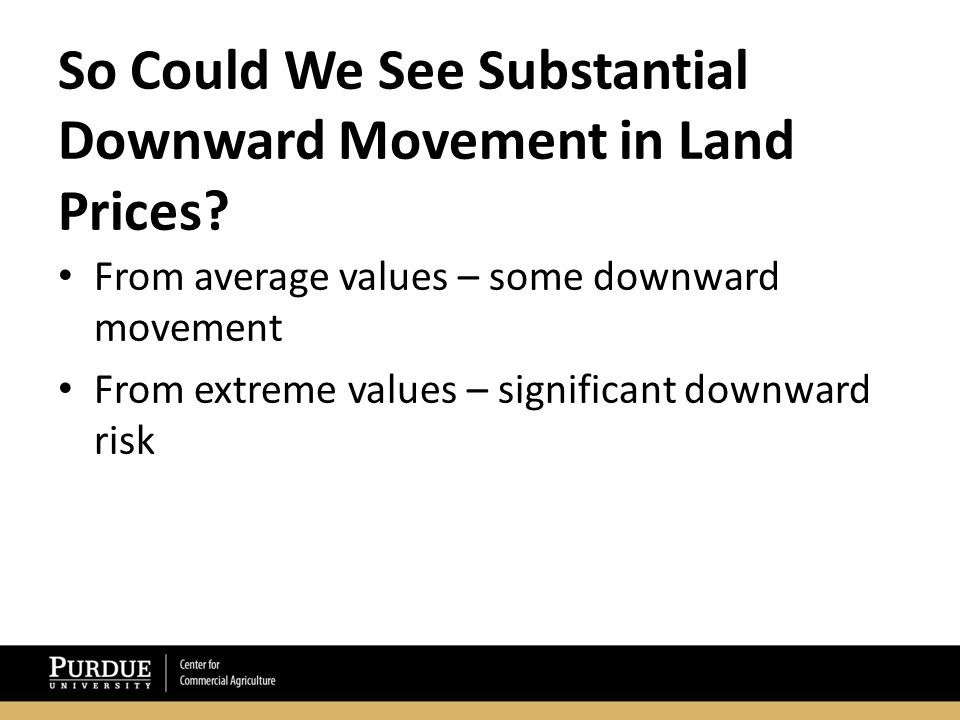 So Could We See Substantial Downward Movement in Land Prices.