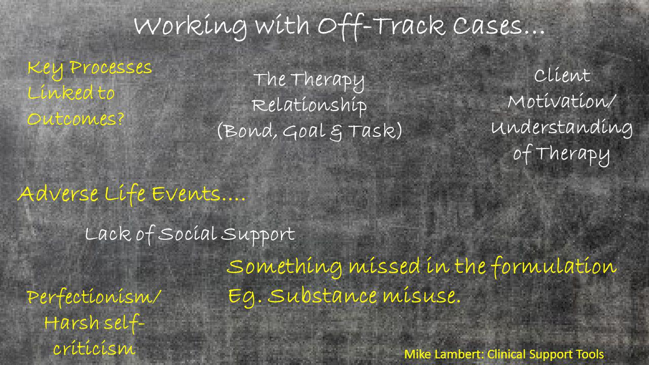 Working with Off-Track Cases… Key Processes Linked to Outcomes.