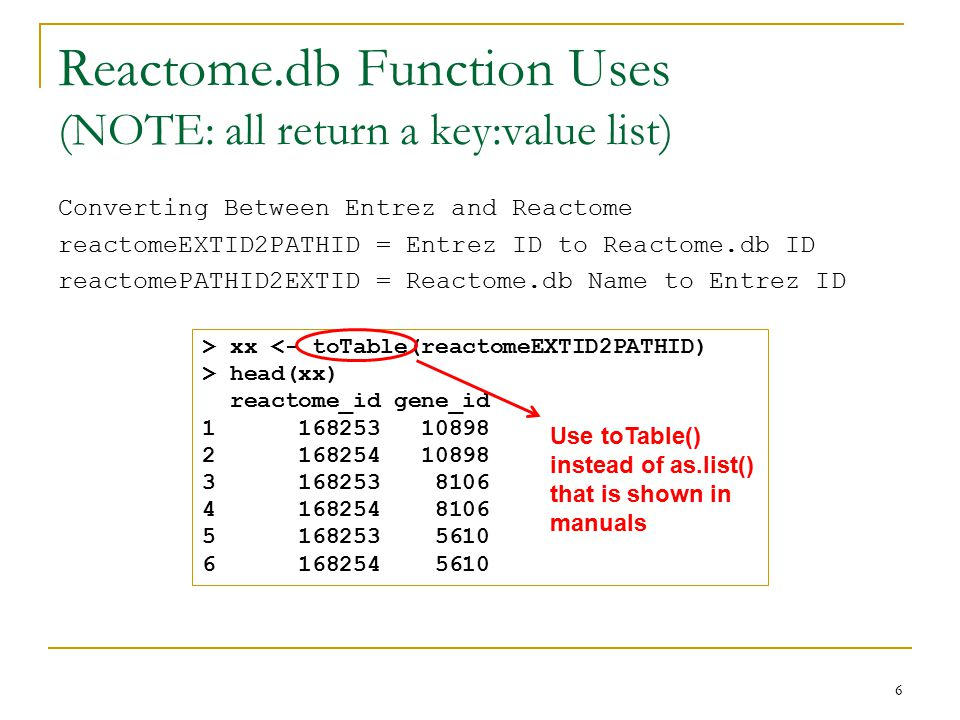 Reactome.db Function Uses (NOTE: all return a key:value list) Converting Between Entrez and Reactome reactomeEXTID2PATHID = Entrez ID to Reactome.db ID reactomePATHID2EXTID = Reactome.db Name to Entrez ID 6 > xx <- toTable(reactomeEXTID2PATHID) > head(xx) reactome_id gene_id 1 168253 10898 2 168254 10898 3 168253 8106 4 168254 8106 5 168253 5610 6 168254 5610 Use toTable() instead of as.list() that is shown in manuals