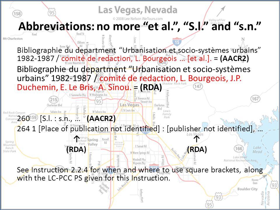 Abbreviations: no more et al. , S.l. and s.n. Bibliographie du department Urbanisation et socio-systèmes urbains 1982-1987 / comité de redaction, L.