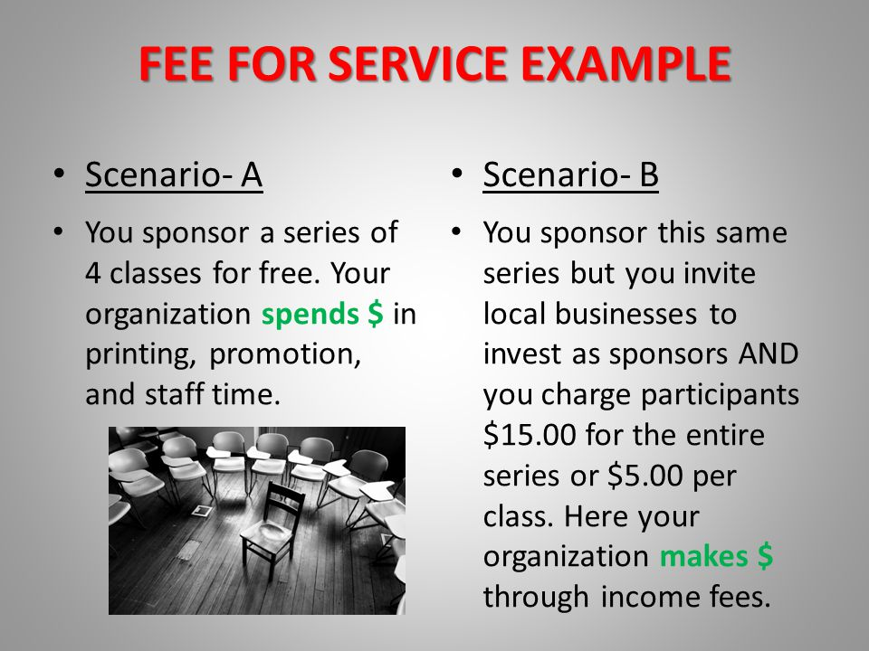 FEE FOR SERVICE EXAMPLE Scenario- A You sponsor a series of 4 classes for free. Your organization spends $ in printing, promotion, and staff time. Sce