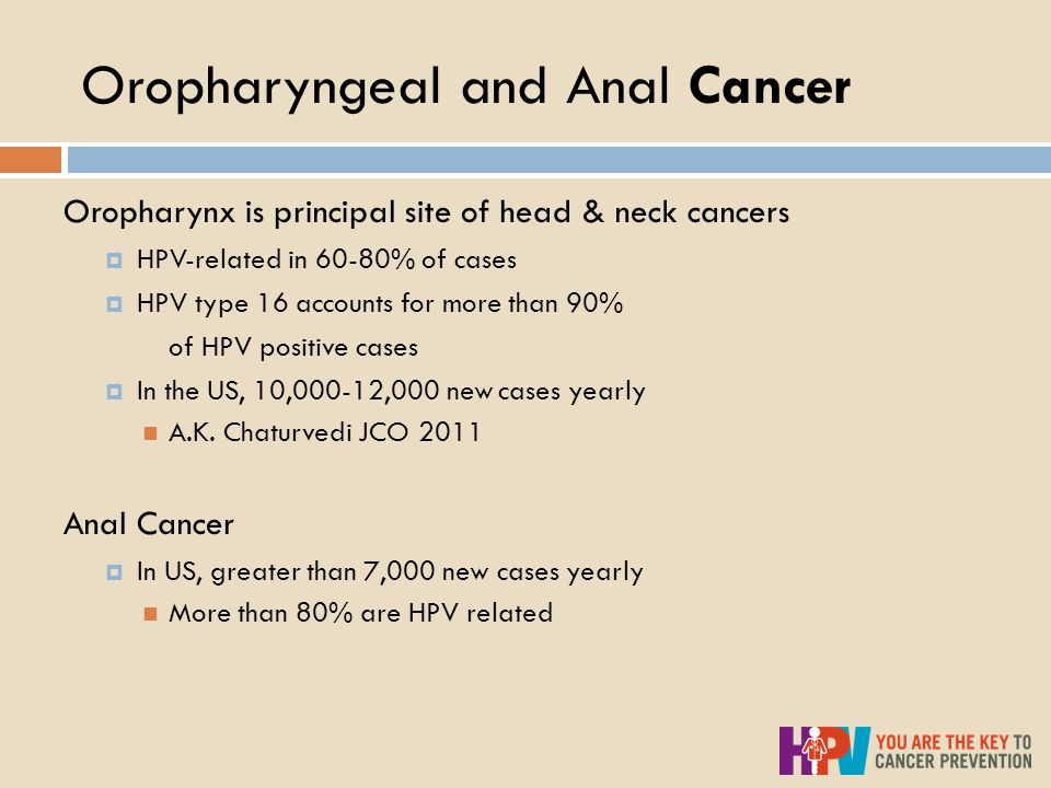 Oropharyngeal and Anal Cancer Oropharynx is principal site of head & neck cancers  HPV-related in 60-80% of cases  HPV type 16 accounts for more than 90% of HPV positive cases  In the US, 10,000-12,000 new cases yearly A.K.