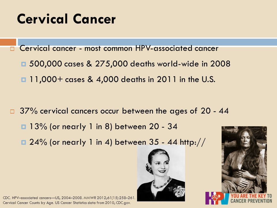 Cervical Cancer  Cervical cancer - most common HPV-associated cancer  500,000 cases & 275,000 deaths world-wide in 2008  11,000+ cases & 4,000 deaths in 2011 in the U.S.