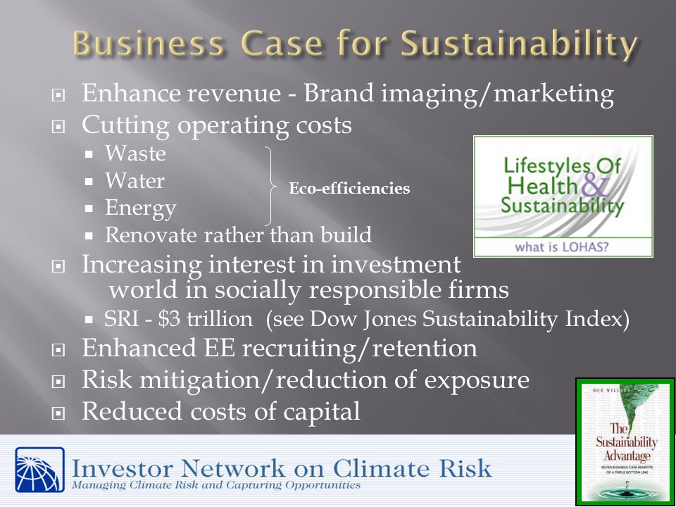  Enhance revenue - Brand imaging/marketing  Cutting operating costs  Waste  Water  Energy  Renovate rather than build  Increasing interest in investment world in socially responsible firms  SRI - $3 trillion (see Dow Jones Sustainability Index)  Enhanced EE recruiting/retention  Risk mitigation/reduction of exposure  Reduced costs of capital Eco-efficiencies