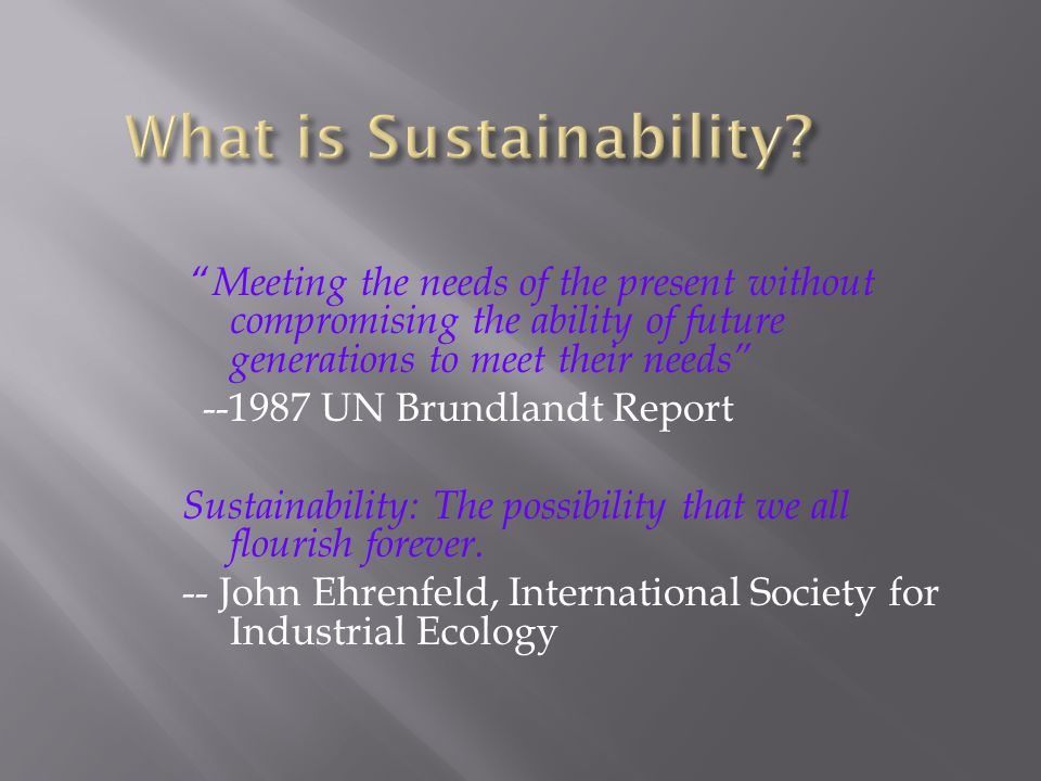 Meeting the needs of the present without compromising the ability of future generations to meet their needs --1987 UN Brundlandt Report Sustainability: The possibility that we all flourish forever.