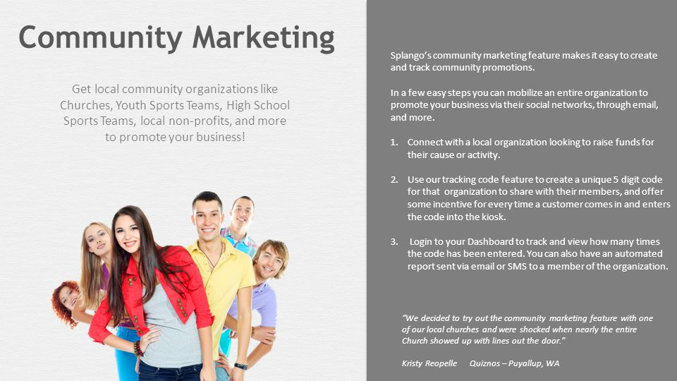 Splango's community marketing feature makes it easy to create and track community promotions.