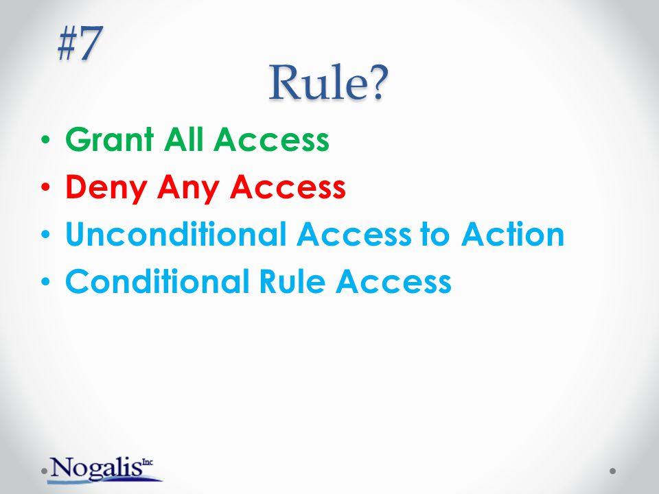 Rule? Grant All Access Deny Any Access Unconditional Access to Action Conditional Rule Access #7