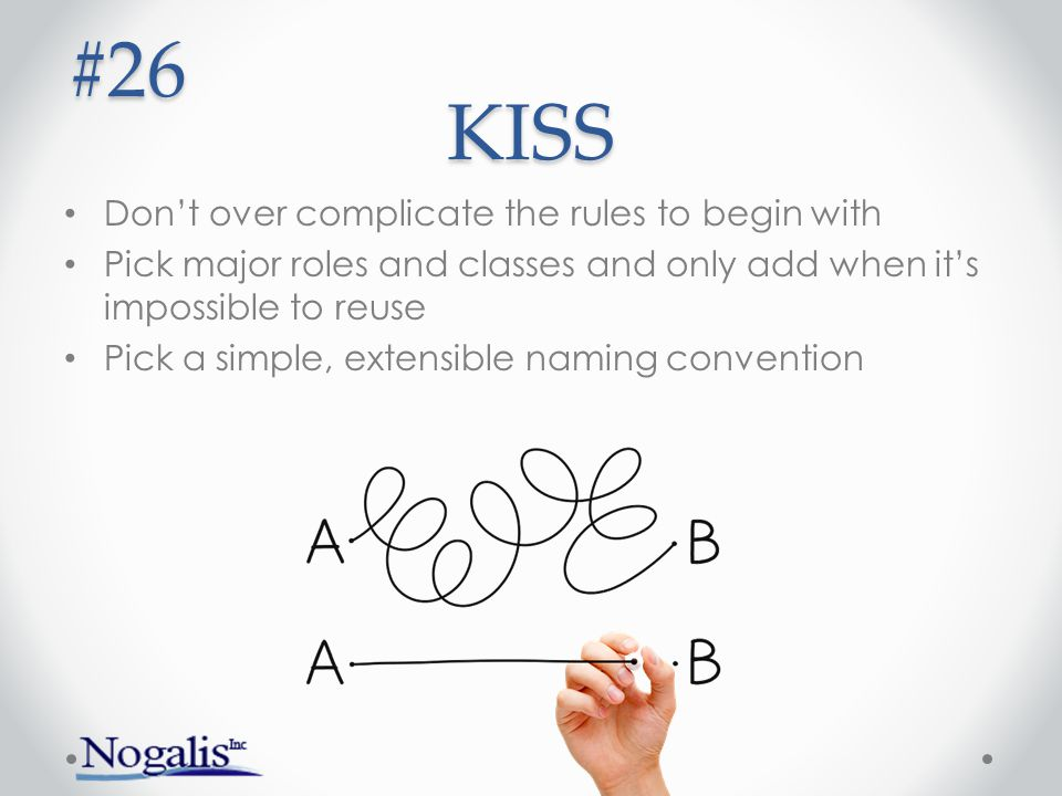 KISS Don't over complicate the rules to begin with Pick major roles and classes and only add when it's impossible to reuse Pick a simple, extensible naming convention #26