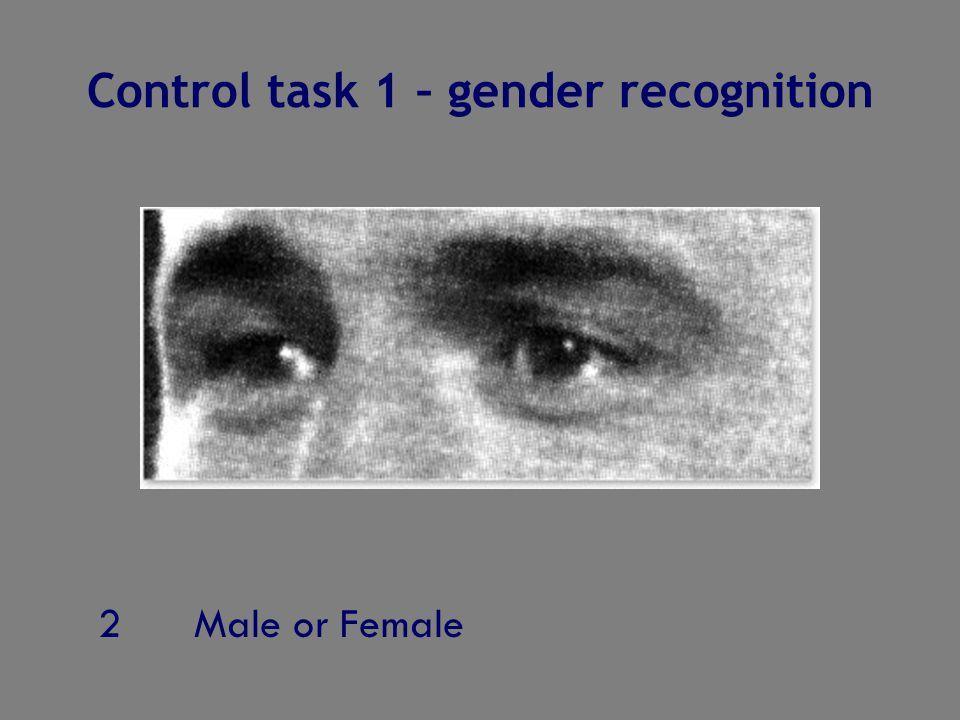 2Male or Female Control task 1 – gender recognition
