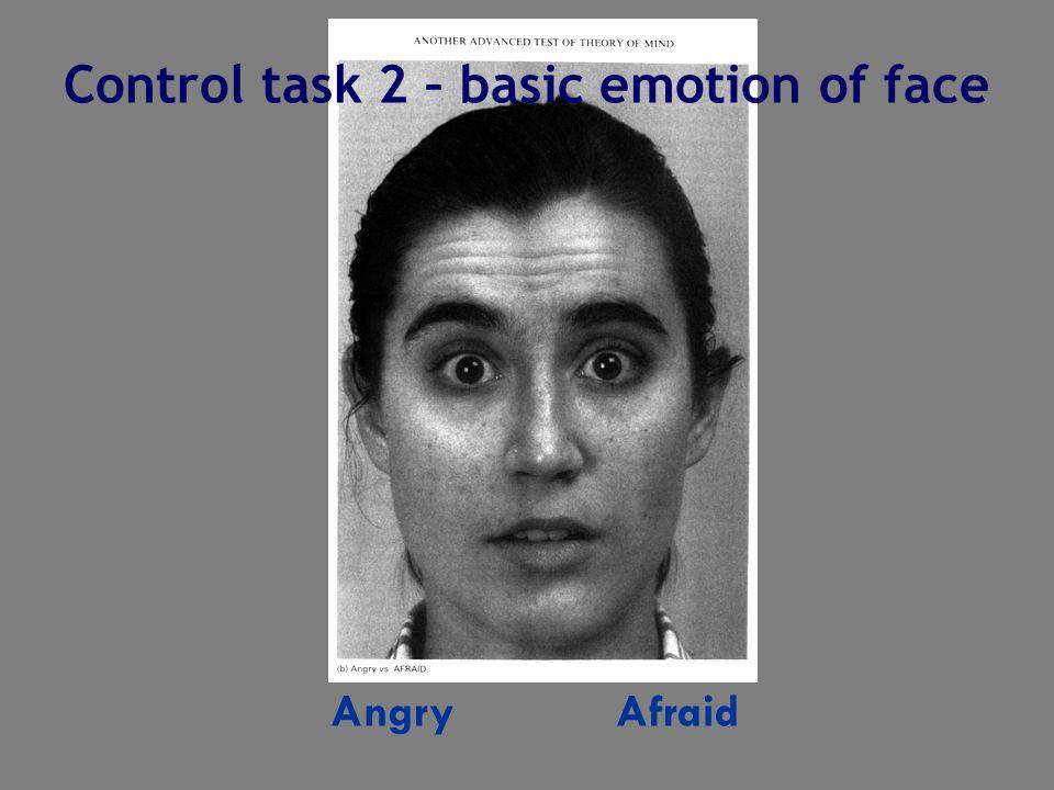 Angry Afraid Control task 2 – basic emotion of face