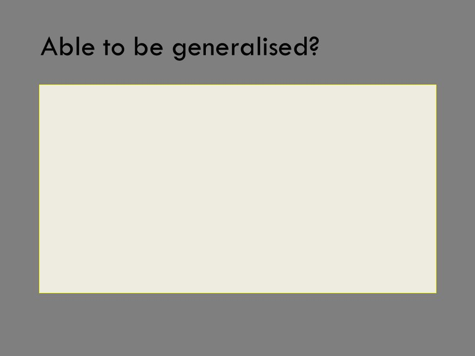 Able to be generalised?