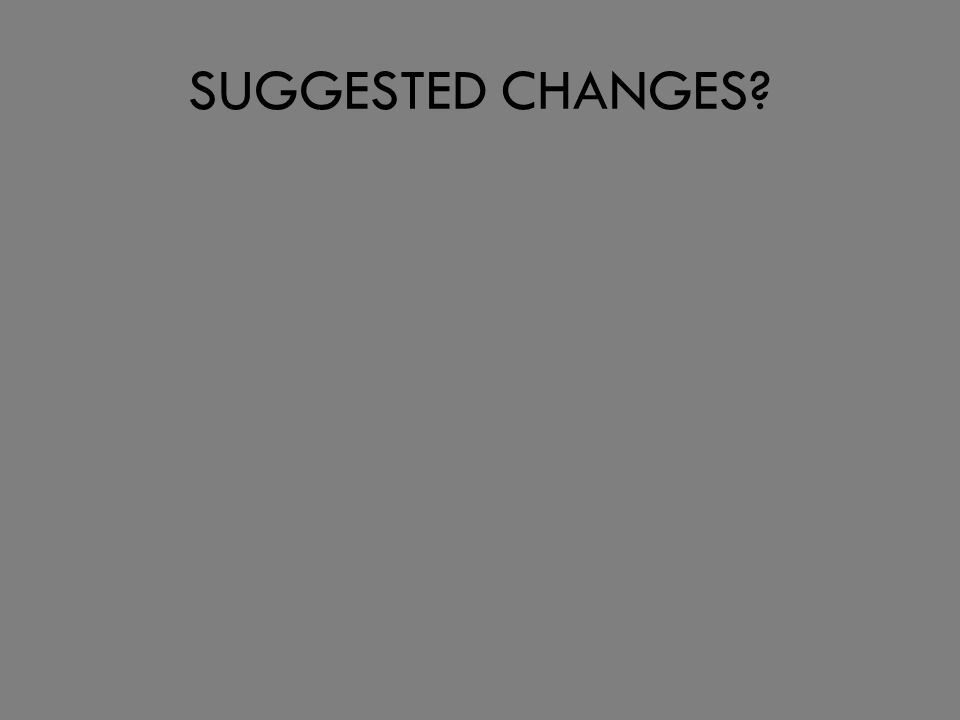 SUGGESTED CHANGES?