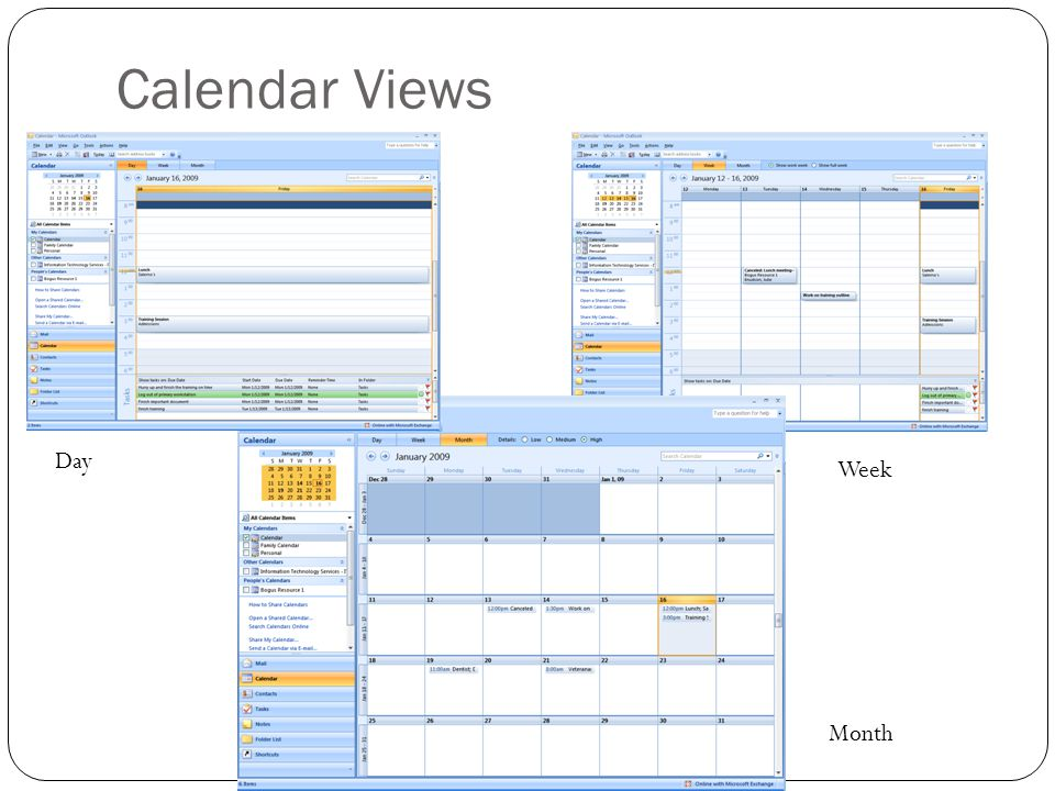Calendar Views Day Week Month